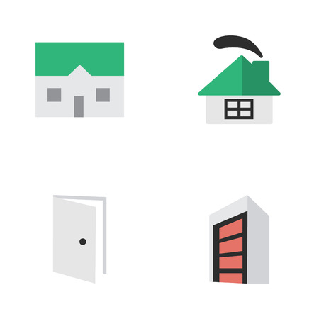 Vector Illustration Set Of Simple Real Icons. Elements Entry, House, Construction And Other Synonyms House, Home And Building.
