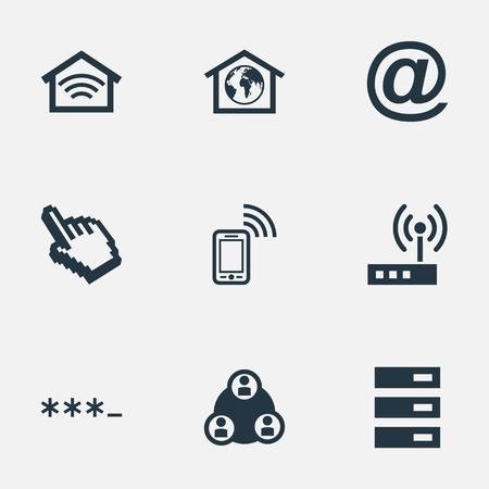 Vector Illustration Set Of Simple Web Icons. Elements Parole, Home, Cursor And Other Synonyms Password, Teamwork And Router.