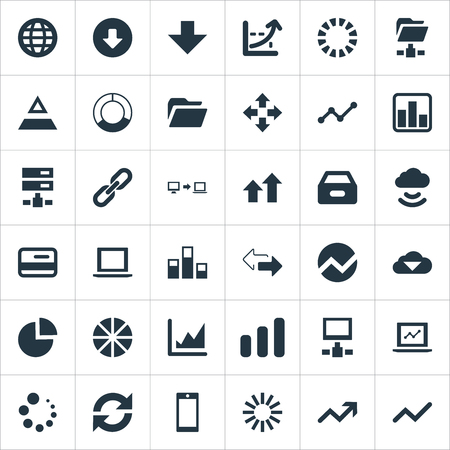 Vector Illustration Set Of Simple Analysis Icons. Elements Process, Economy, Increase And Other Synonyms Credit, Triangle And Related.