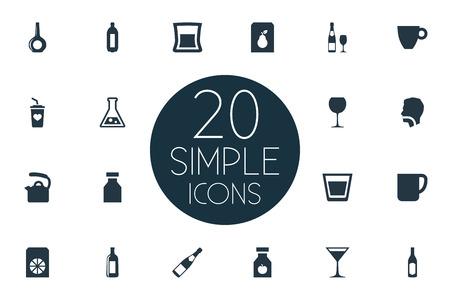 単純な飲み物アイコンのベクター イラスト セット。要素マグカップ、カップ、抗生物質、他の同義語は、レモネードとカクテルを飲みます。  イラスト・ベクター素材