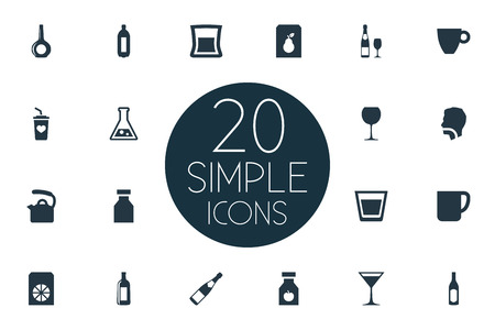 Vector Illustration Set Of Simple Drinks Icons. Elements Mug, Cup, Antibiotic And Other Synonyms Drinking, Lemonade And Cocktail.