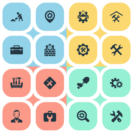 Vector Illustration Set Of Simple Mending Icons. Elements Builder Team, Equipments, Repairing And Other Synonyms Hand, Handbag And Repair.