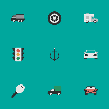Vector Illustration Set Of Simple Shipping Icons. Elements Lorry, Wheel, Auto And Other Synonyms View, Shed And Lighter.