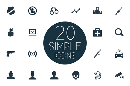 Vector Illustration Set Of Simple Crime Icons. Elements Explosive, Marketing, Lock And Other Synonyms Explosive, Automatic And Gun.
