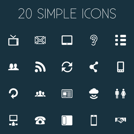 Vector Illustration Set Of Simple Network Icons. Elements Listen, Team, Partner And Other Synonyms Telephone, Social And Media. Illustration