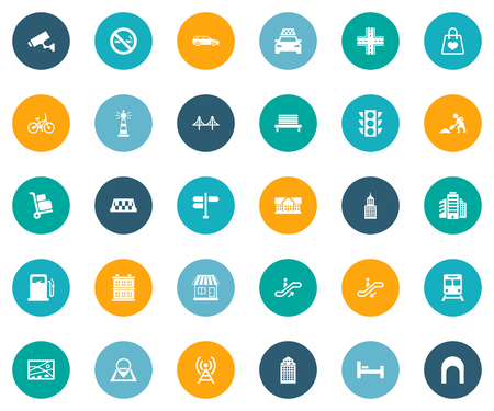 Vector Illustration Set Of Simple Architecture Icons. Elements Beacon, Bike, Semaphore And Other Synonyms Bedstead, Stoplight And Institute.