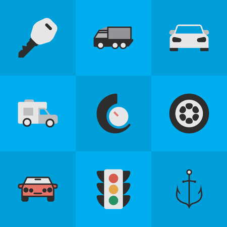 Vector Illustration Set Of Simple Traffic Icons. Elements Lorry, Van, Traffic Lights And Other Synonyms Van, View And Counter.