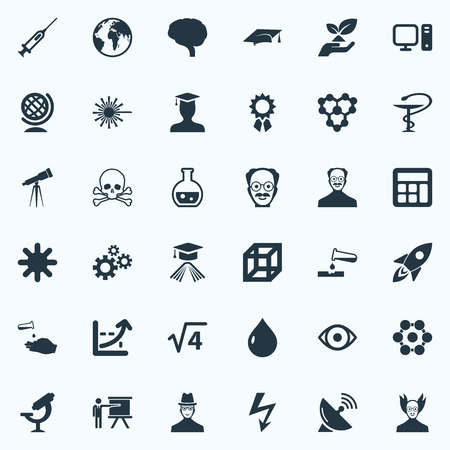 Vector Illustration Set Of Simple Study Icons. Elements Teacher, Square, Setting And Other Synonyms Atom, Reckoning And Spaceship. Ilustração