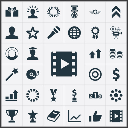 Vector Illustration Set Of Simple Achievement Icons. Elements Graph, Guard, Military Medallion And Other Synonyms Victory, Laurel And Achievement.