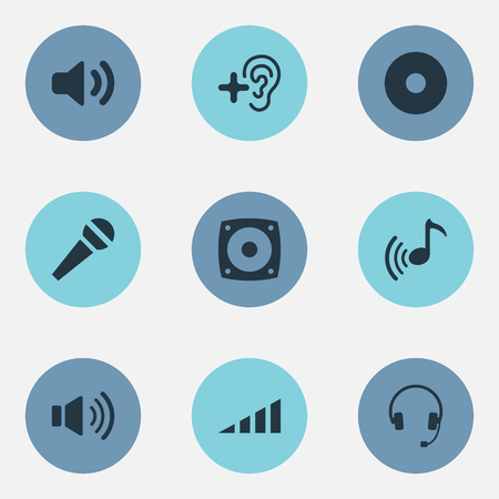 Vector Illustration Set Of Simple  Icons. Elements Song, Sound, Compact Disk And Other Synonyms Sound, Studio And Compact.