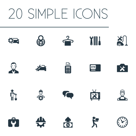 Vector Illustration Set Of Simple Support Icons. Elements Automatic Teller Machine, Toolbox, Delivery Worker And Other Synonyms Suspender, Shovel And Cheque.