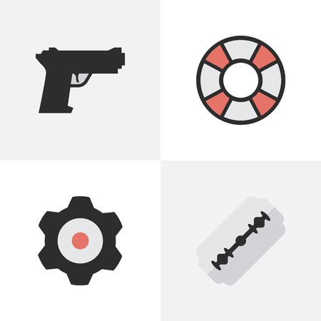 Vector Illustration Set Of Simple Criminal Icons. Elements Weapon, Lifesaver, Blade And Other Synonyms Shot, Lifebuoy And Cogwheel. Illustration