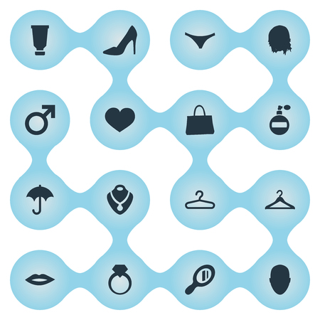 Vector Illustration Set Of Simple Fashion Icons. Elements Underwear, Purse, Heart And Other Synonyms Passion, Male And Lips.