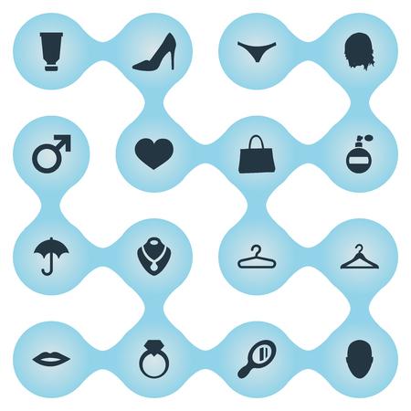 Vektor-Illustrations-Satz einfache Mode-Ikonen. Elements Unterwäsche, Geldbeutel, Herz und andere Synonyme Leidenschaft, Mann und Lippen. Standard-Bild - 85614475