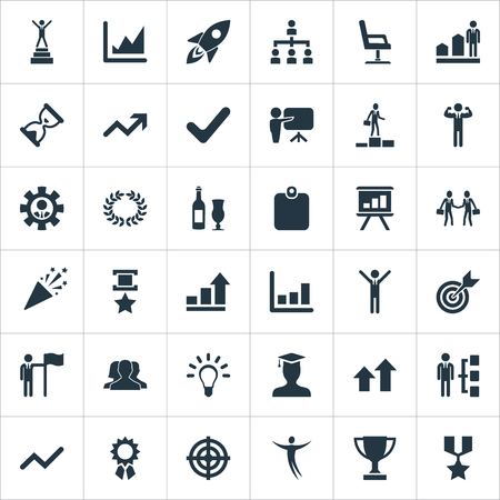 Vector Illustration Set Of Simple Winner Icons. Elements Arrow, Infographic, Presentation And Other Synonyms Document, Idea And Presentation.