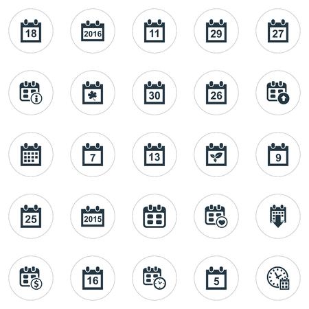 Conjunto de ilustração vetorial de ícones de tempo simples. Elementos 26, nove, evento e outros sinônimos trigésimo, planta e nono. Foto de archivo - 85614478