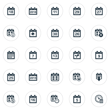 Vector Illustration Set Of Simple Time Icons. Elements 26, Nine, Event And Other Synonyms Thirtieth, Plant And Ninth. Illustration