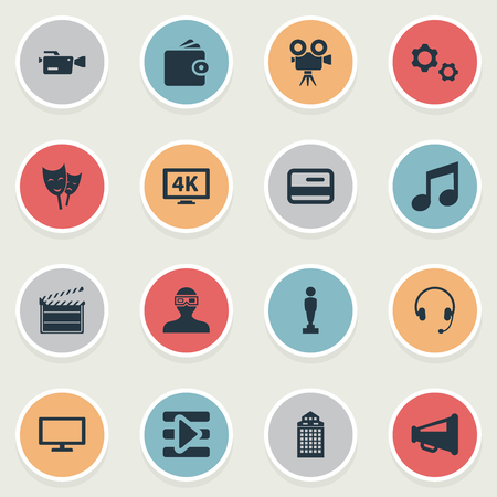 Vector Illustration Set Of Simple Film Icons. Elements Billfold, Megaphone, Action And Other Synonyms Loudspeaker, Drama And Headphone.