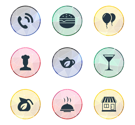 Vector Illustration Set Of Simple Beverage Icons. Elements Handset, Gastronomy, Local Shop Synonyms Champagne, Teapot And Tea. Illustration