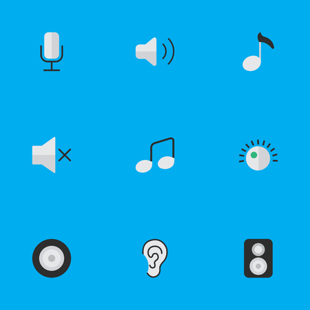 Vector Illustration Set Of Simple Music Icons. Elements Record, Volume, Regulator And Other Synonyms Sound, Microphone And Mic.