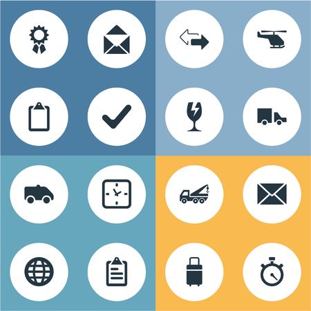 Vector Illustration Set Of Simple Surrender Icons. Elements Air Delivery, Watch, Reward And Other Synonyms Timer, Directions And Fragile.