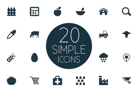 Vector Illustration Set Of Simple Agriculture Icons. Elements Hangar, Medicament, Wooden Barrier And Other Synonyms Dropper, Magnifier And Melioration.