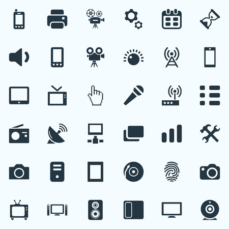Vector Illustration Set Of Simple Hardware Icons. Elements Display, Processor, Vinyl And Other Synonyms Cursor, Cpu And Settings.