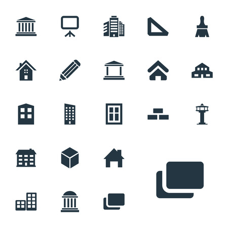 Vector Illustration Set Of Simple Construction Icons. Elements Academy, Dispatcher Cabin, Museum And Other Synonyms Pencil, Pillars And Screen.