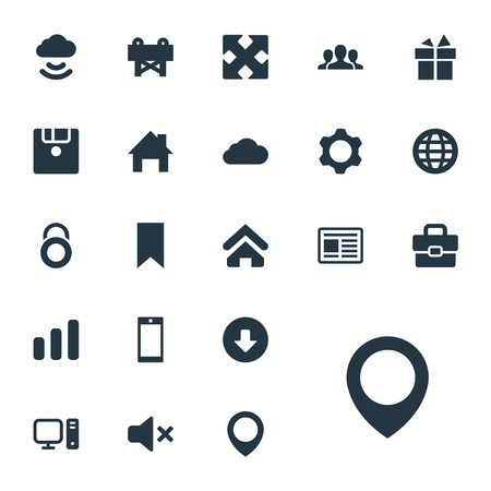 Vector Illustration Set Of Simple Interface Icons. Elements Team, Reconstruction, Diskette And Other Synonyms Browser, Upload And Company.
