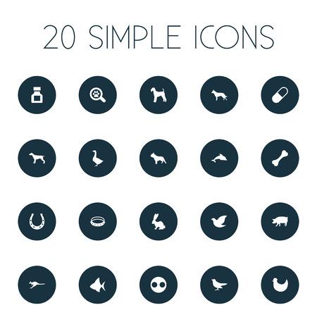 Vector illustratie Set van eenvoudige dieren pictogrammen. Elementen Varken, Konijntje, watervogel en andere synoniemen Honds, vogel en pooch. Stock Illustratie