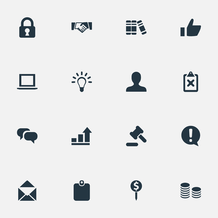 Vector Illustration Set Of Simple Business Icons. Elements Change, Hammer, Lamp And Other Synonyms Talking, Coins And Mail.