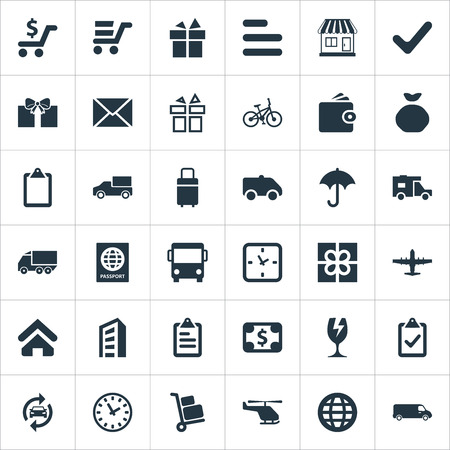 Vector Illustration Set Of Simple Delivery Icons. Elements Air Delivery, Lorry, Velocipede And Other Synonyms Check, Trolley And Trailer. Illustration