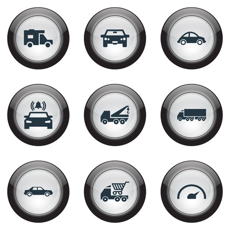 Vector Illustration Set Of Simple Automobile Icons. Elements Turtle Transport, Auto, Faucet And Other Synonyms Car, Signaling And Bell. Illustration