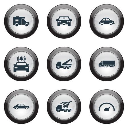 Vectorillustratiereeks Eenvoudige Automobiele Pictogrammen. Elementen Turtle Transport, Auto, kraan en andere synoniemen Auto, signalering en bel. Stockfoto - 85614521