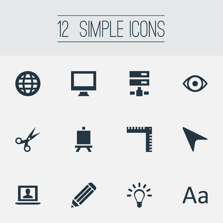 Vector Illustration Set Of Simple Designicons Icons. Elements Pen, Worldwide, Pointer And Other Synonyms Database, Vision And Arrow. Illustration