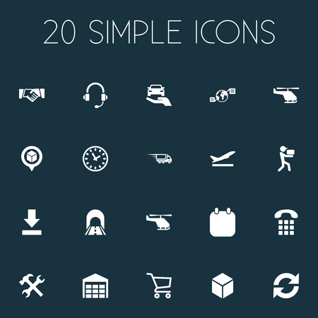 Vector Illustration Set Of Simple Systematization Icons. Elements Storage, Supporting, Bottom Side And Other Synonyms Agent, Calendar And Carriage.