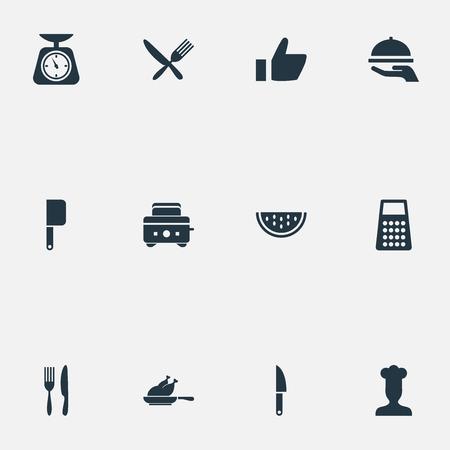 シンプルな料理のアイコンのベクトル イラスト セット。要素シェフ、夏のフルーツ、ブレード、その他類義語料理スライス、チキンします。