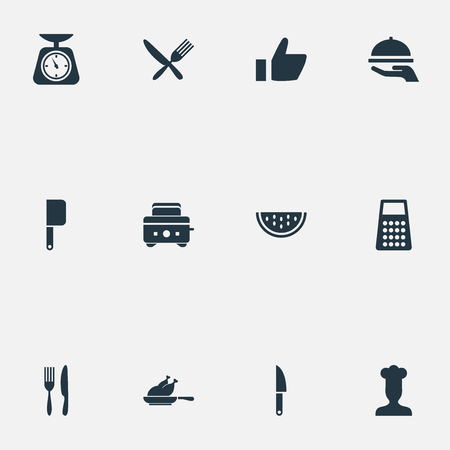 Vector Illustration Set Of Simple Cuisine Icons. Elements Chef, Summer Fruit, Blade And Other Synonyms Cuisine, Slice And Chicken.