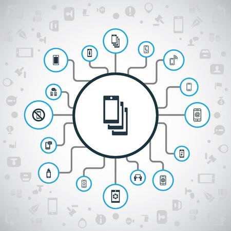 Vector illustratie Set van eenvoudige Smartphone-pictogrammen. Elementen Contact, Brief, Sluiter en Andere synoniemen Audio, Contact en Verboden. Stock Illustratie