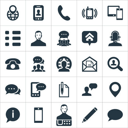 Vector Illustration Set Of Simple Connect Icons. Elements Home Mark, Collective Opinion, Education And Other Synonyms Calling, Telemarketing And List. Çizim