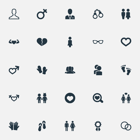 単純ないくつかのアイコンのベクトル イラスト セット。要素眼鏡、指輪、マダム、他類義語ロック人とバレンタイン。 写真素材 - 85614541