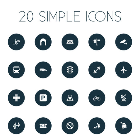 Vector Illustration Set Of Simple Architecture Icons. Elements Autobus, School, Airplane And Other Synonyms Taxi, Auto And Parking.