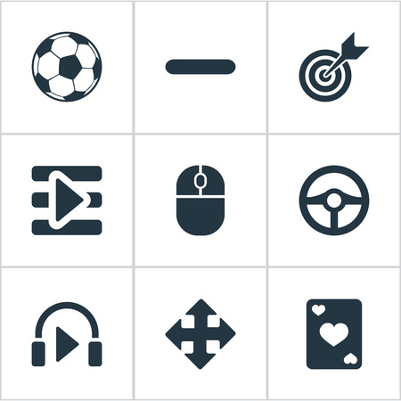 computerized: Vector Illustration Set Of Simple Leisure Icons. Elements Arrows, Device, Board And Other Synonyms Arrow, Headphones And Wheel.