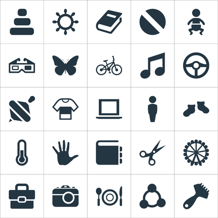 Vector Illustration Set Of Simple Infant Icons. Elements Melody, Textbook, Garment And Other Synonyms Laptop, Balance And Wheel. Çizim