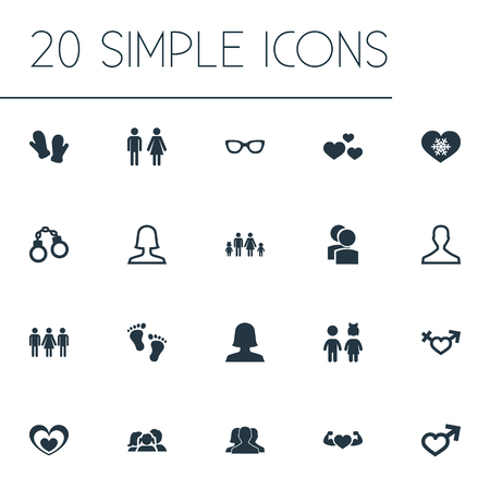 Vector Illustration Set Of Simple Beloved Icons. Elements Spouse, Spectacles, Mitten And Other Synonyms Sunglasses, Eyeglasses And Partner.