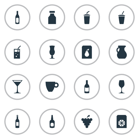 Vector Illustration Set Of Simple Drinks Icons. Elements Pitcher, Soda, Beverage And Other Synonyms Milk, Container And Whiskey.