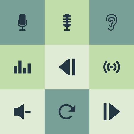 Vector Illustration Set Of Simple Audio Icons. Elements Wave, Minus, Player And Other Synonyms Movie, Microphone And Refresh.