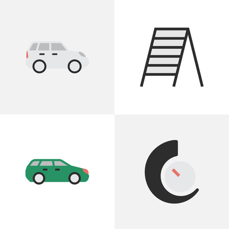 Vector Illustration Set Of Simple Traffic Icons. Elements Stairs, Speedometer, Suv And Other Synonyms Ladder, Stairway And Crossover.