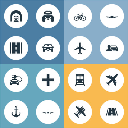 Vector Illustration Set Of Simple Transport Icons. Elements Aeroplane, Automobilist, Intersection And Other Synonyms Auto, Bike And Jet. Ilustracja