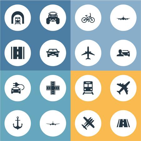 Vektor-Illustration Satz von einfachen Transport Icons. Elemente Flugzeug, Automobilist, Kreuzung und andere Synonyme Auto, Fahrrad und Jet. Standard-Bild - 85614571